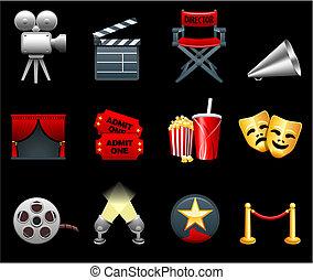 films, industrie, pellicule, collection, icône