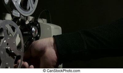 films, vieux, projecteur, pellicule, dépistage