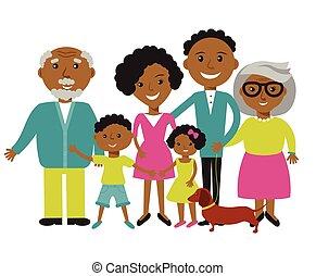 fils, heureux, parents, quatre, famille, américain, africaine, leur, fille, membres