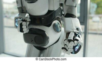 fin, étirage, robot, main haut