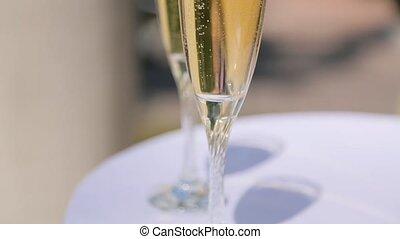 fin, champagne, haut, lunettes