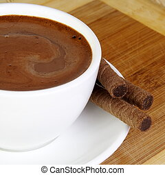fin, chocolat chaud, tasse