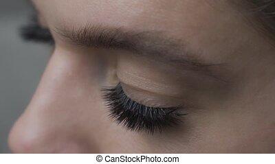 fin, cil, haut., oeil femme, extension, long, procedure., eyelashes.