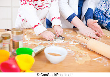 fin, cuisson, haut, famille