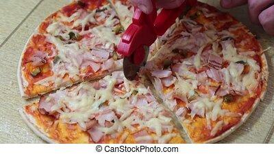 fin, découper, pizza