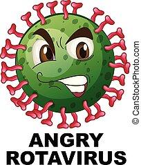 fin, fâché, rotavirus, haut