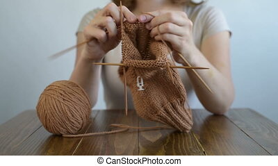 fin, femme, tricot, haut