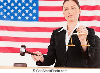 fin, fond, frappement, balances, juge, justice, mignon, tenue, américain, marteau, fléchir haut