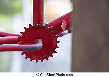 fin, freewheel, rouillé, bicyclette rouge, haut, vendange