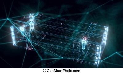 fin, hologramme, haut, boîte, armée