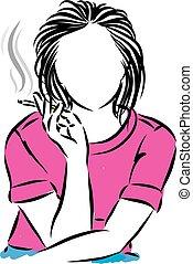 fin, illustration, haut, femme, fumer, vecteur