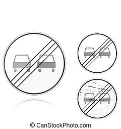 fin, non, -, signe, variantes, dépassement, route