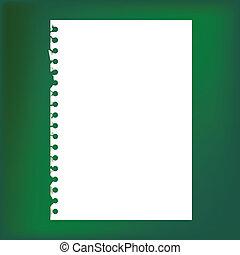 fin, papier, bloc-notes, haut, vide