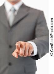 fin, touchscreen, doigt, invisible, urgent, haut, masculin