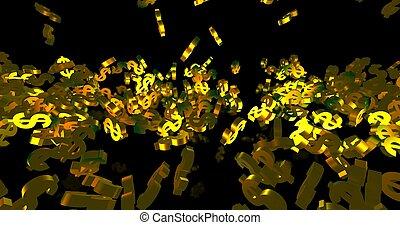 finance, événement, symboles, 3d, arrière-plan., dollar, noir, tomber, doré, render