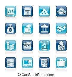 finance, banque, icônes