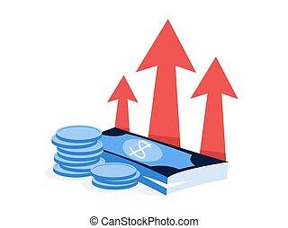 finance, business, argent, concept., idée, augmentation, croissance
