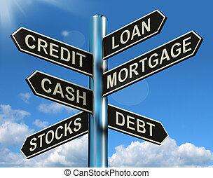 finance, hypothèque, poteau indicateur, prêt, emprunt, crédit, dette, projection