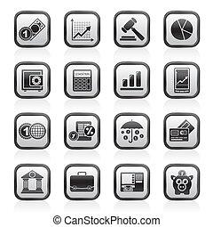 finance, icones affaires