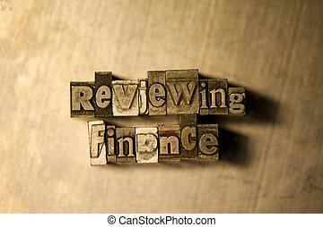 finance, letterpress, texte, -, signe, réexaminer