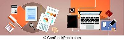 finance, papier, vue, tablette, sommet, informatique, graphique, angle, ordinateur portable, rapports, documents, lieu travail, bureau