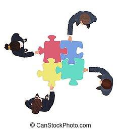 finance, professionnels, puzzle, puzzle, solution, pieces., équipe, concept.