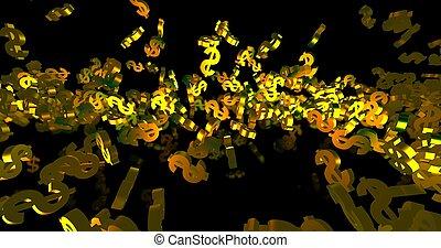 finance, tomber, arrière-plan., événement, 3d, doré, render, noir, symboles, dollar