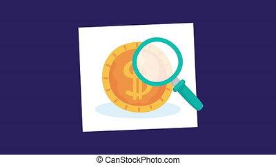 finances, argent, verre, monnaie, magnifier