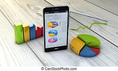 finances, graphique, smartphone