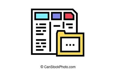 financier, animation, icône, dossier, couleur, rapport