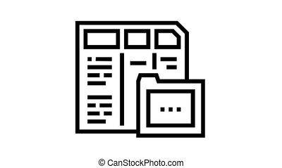financier, animation, icône, dossier, ligne, rapport