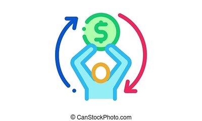 financier, animation, replay, icône