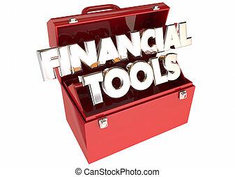 financier, argent, conseil, budget, mots, pointes, outils, boîte outils, ressources, 3d