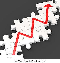 financier, augmenté, profit, puzzle, ligne, spectacles, cible