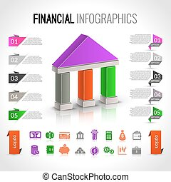 financier, banque, infographics