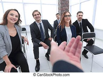 financier, employés corporation, conversation, équipe, rapport, discuter