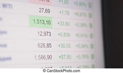 financier, fracas, stockage, collapse., crise, descendant, écran, chart., global, négatif, coronavirus, concept, économique, récession, stagnation, business, marché, tendance, motion., crise