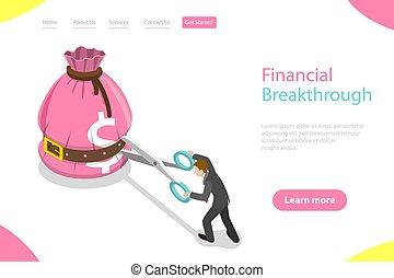 financier, gabarit, plat, isométrique, atterrissage, breakthrough., page, vecteur