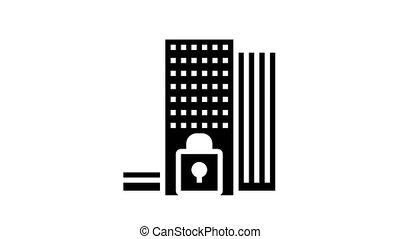 financier, glyph, animation, icône, mondiale, crise
