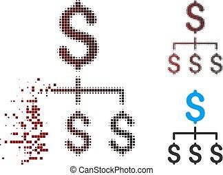 financier, hiérarchie, halftone, cassé, pixel, icône
