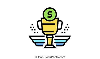 financier, icône, animation, couleur, récompense