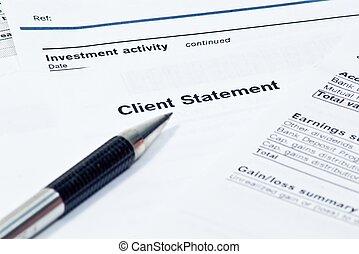 financier, mensuel, déclaration