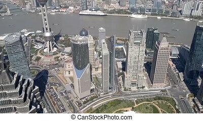 financier, négligence, district, huangpu, shanghai, rivière, porcelaine, cityscape