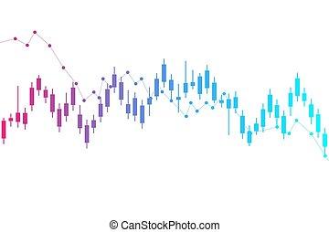 financier, résumé, diagramme, ou, commerce, forex, stockage, graph., vecteur, illustration, arrière-plan., marché, finance