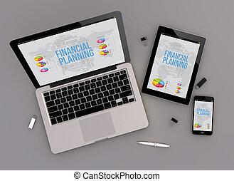 financier, zénith, planification, conception, sensible, vue
