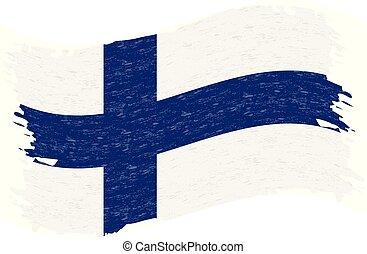 finlande, grunge, illustration., résumé, drapeau, isolé, arrière-plan., coup, vecteur, brosse, blanc