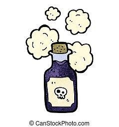 fiole, dessin animé, poison