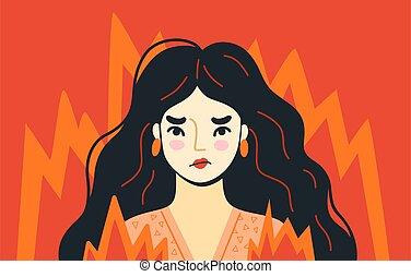 fire., character., hand-drawn, illustration, irrité, entouré, breakdown., accentué, psychologique, fâché, personne, vecteur, femme surmenée, bord, furieux