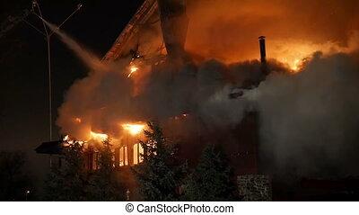 fire., enfer, conflagration., maison