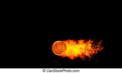 fireball, flammes, basket-ball